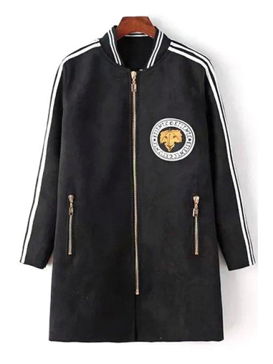 outfit Zip Pockets Appliqued Suede Coat - BLACK M