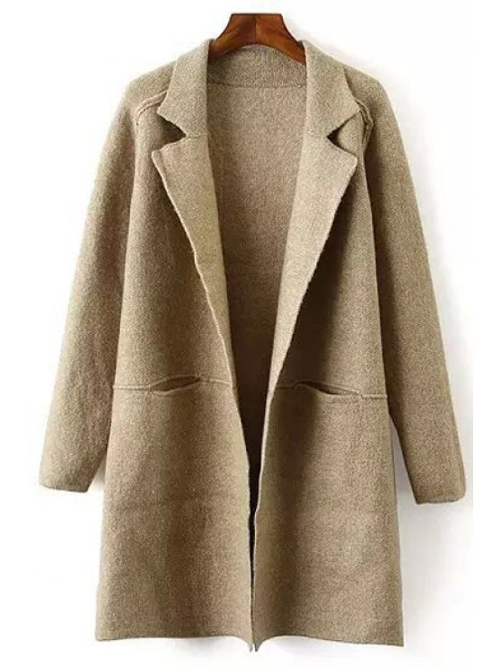 shop Lapel Collar Solid Color Long Sleeves Pocket Cardigan - KHAKI ONE SIZE(FIT SIZE XS TO M)