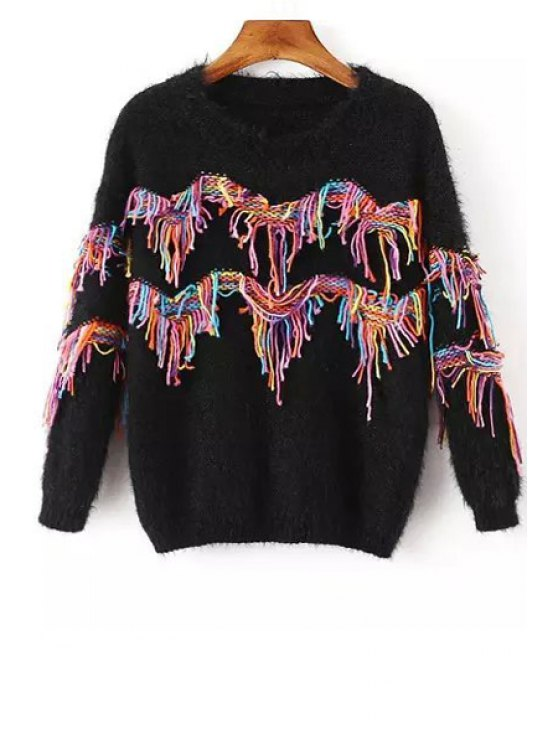 best Colorful Ribbon Braided Round Collar Pullover Sweater - BLACK ONE SIZE(FIT SIZE XS TO M)