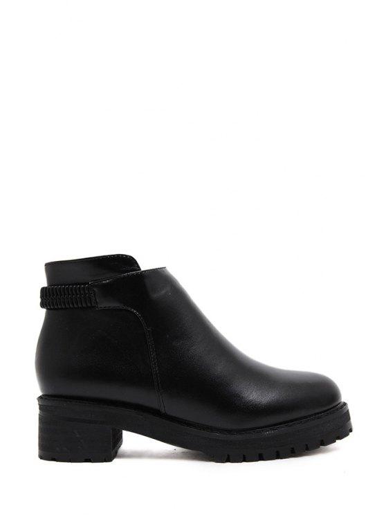 outfits Solid Color Zipper Platform Ankle Boots - BLACK 35
