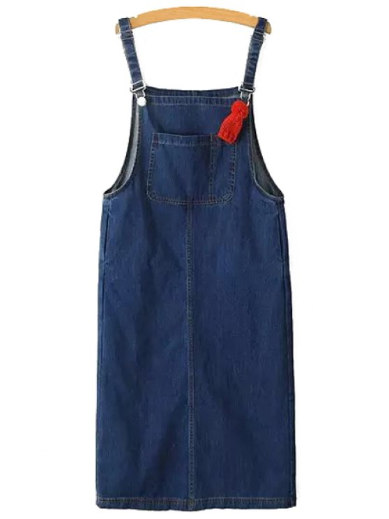 hot Packet Buttocks Denim Suspender Skirt - BLUE XS