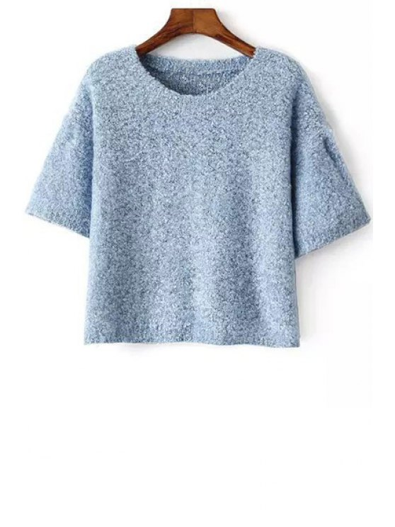 outfit Solid Color Back Slit Round Collar Half Sleeves Sweater - BLUE ONE SIZE(FIT SIZE XS TO M)