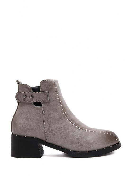 buy Rivets Zipper Stitching Ankle Boots - APRICOT 35