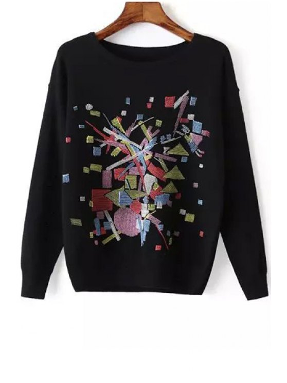 shop Geometric Print Round Collar Long Sleeves Waisted Pullover Sweater - BLACK ONE SIZE(FIT SIZE XS TO M)
