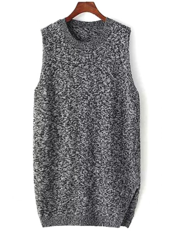 chic Sleeveless Mixed Color Overlap Sweater - BLACK ONE SIZE(FIT SIZE XS TO M)