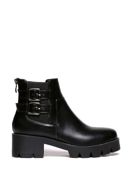 hot Buckles Solid Color Platform Ankle Boots - BLACK 35