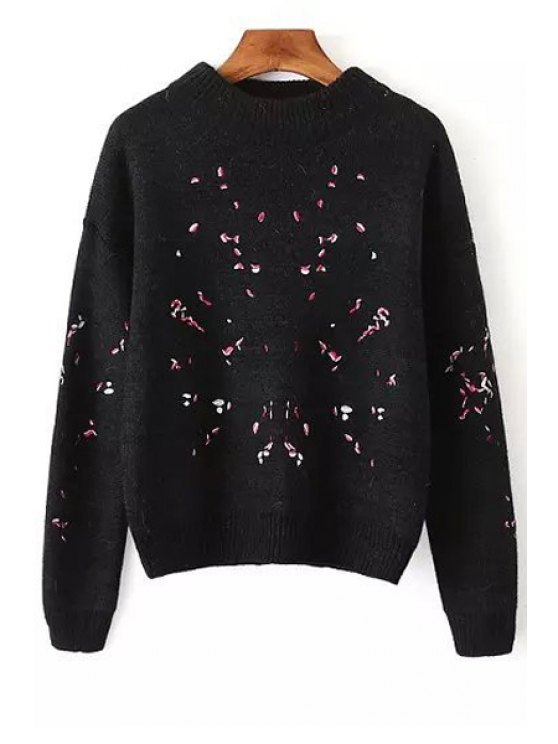 latest Embroidered Print Round Collar Long Sleeves Pullover Sweater - BLACK ONE SIZE(FIT SIZE XS TO M)