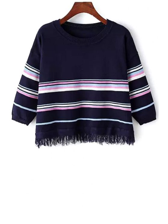 affordable 3/4 Sleeve Striped Fringed Sweater - CADETBLUE ONE SIZE(FIT SIZE XS TO M)