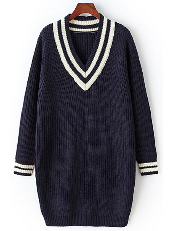 ladies Loose-Fitting V-Neck Long Sleeves Sweater Dress - CADETBLUE ONE SIZE(FIT SIZE XS TO M)