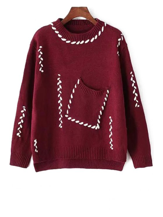 lady Big Pocket High Low Jumper - WINE RED ONE SIZE(FIT SIZE XS TO M)