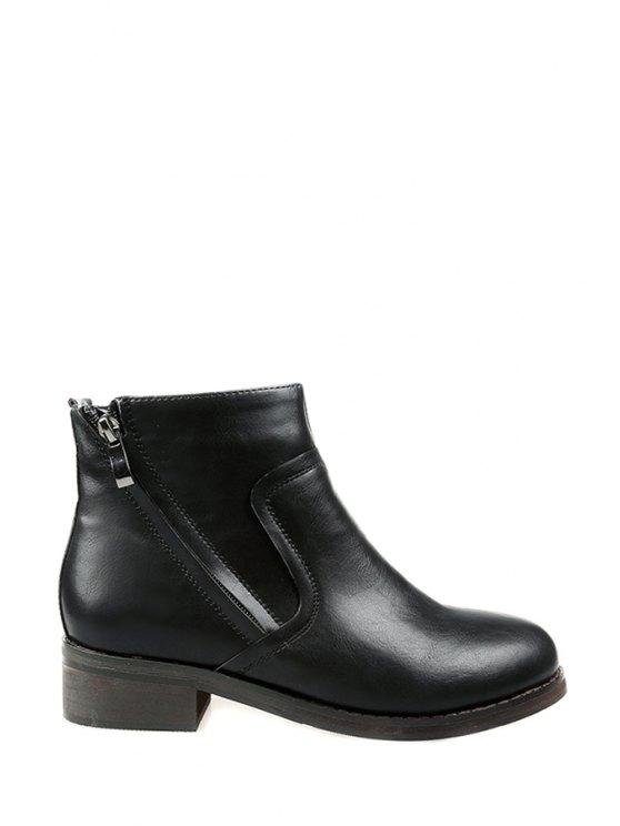 best Zipper Round Toe Black Ankle Boots - BLACK 35