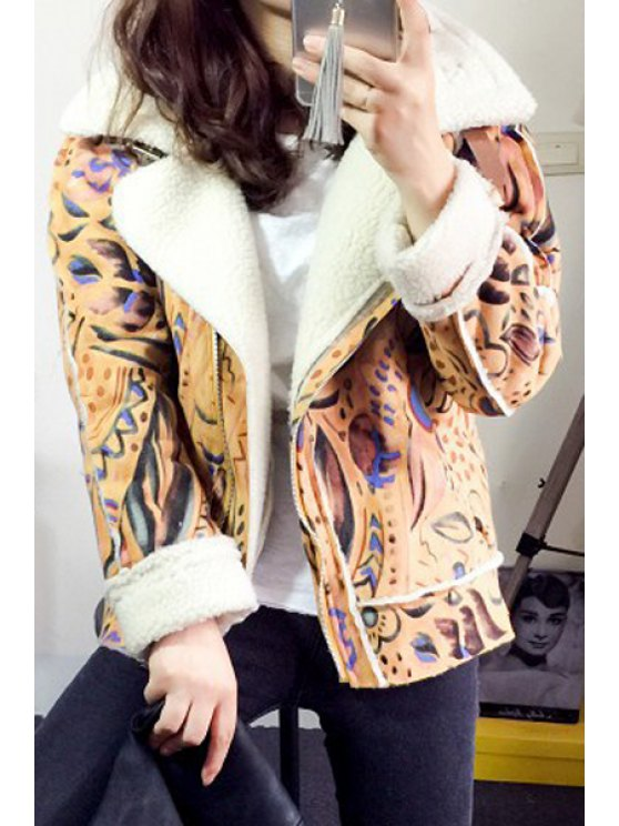 chic Faux Suede Printed Lapel Collar Short Coat - COLORMIX L