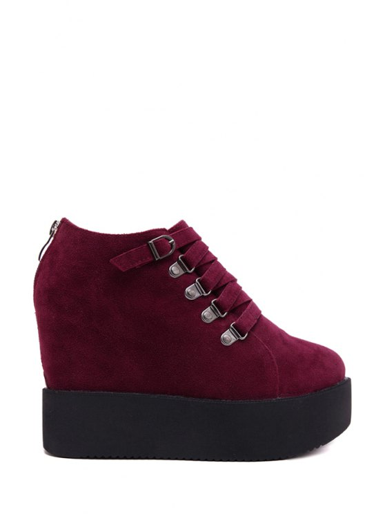 ladies Cross Straps Suede Buckle Ankle Boots - WINE RED 34