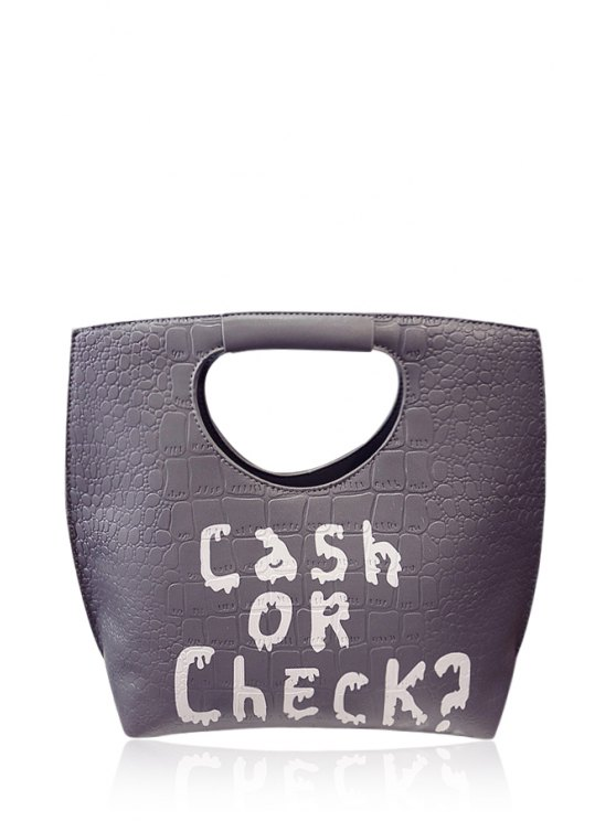 women's Embossing Letter Print Color Matching Tote Bag - GRAY