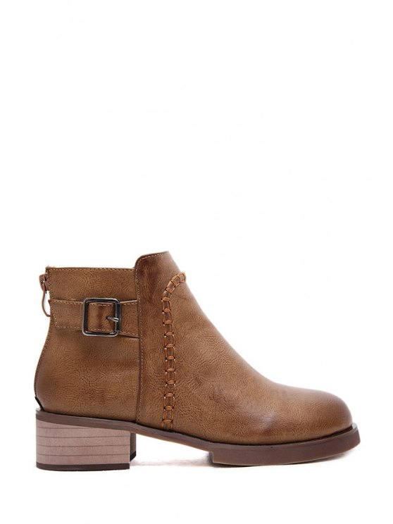 fashion Buckle Solid Color Zipper Ankle Boots - BROWN 35