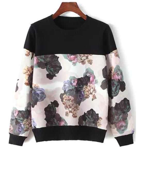 shops Spliced Floral Pattern Sweater - BLACK ONE SIZE(FIT SIZE XS TO M)
