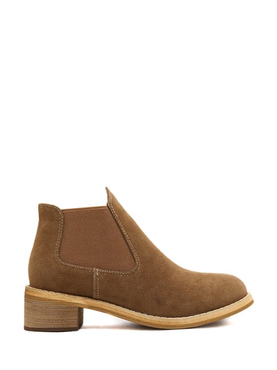 outfit Suede Solid Color Elastic Ankle Boots - BROWN 35