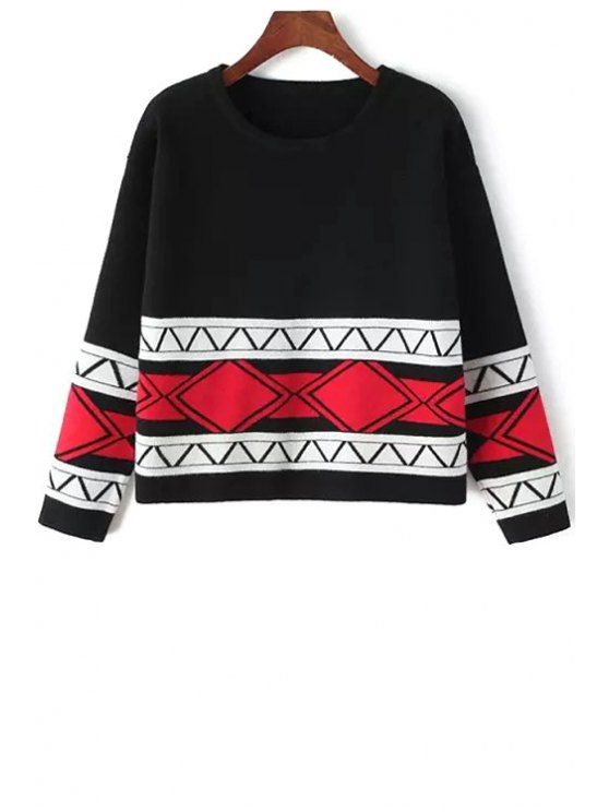 fashion Round Neck Ethnic Pattern Sweater - BLACK ONE SIZE(FIT SIZE XS TO M)