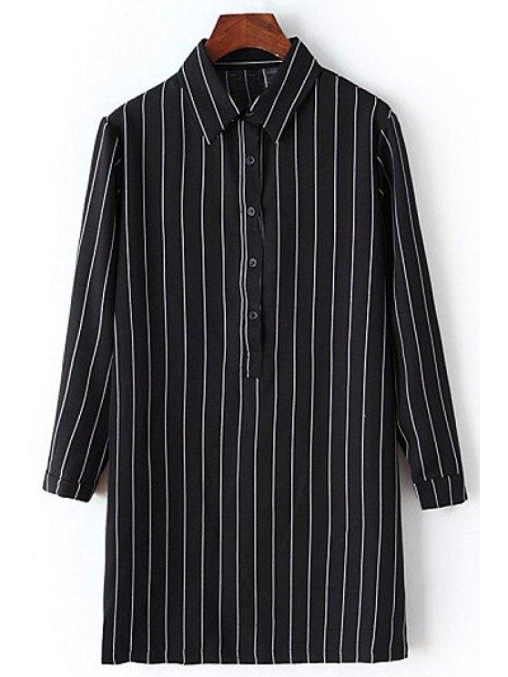 fashion Vertical Stripe Flat Collar Long Sleeves Long Shirt - BLACK S
