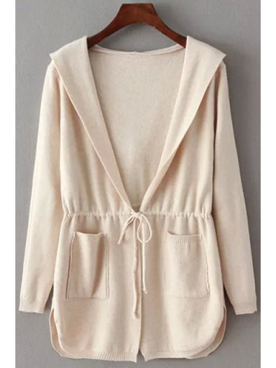 fancy Pure Color Hooded Collar Long Sleeves Waisted Cardigan - OFF-WHITE ONE SIZE(FIT SIZE XS TO M)