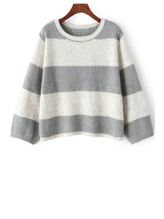 ladies Striped Color Block Round Collar Long Sleeves Pullover Sweater - GRAY ONE SIZE(FIT SIZE XS TO M)