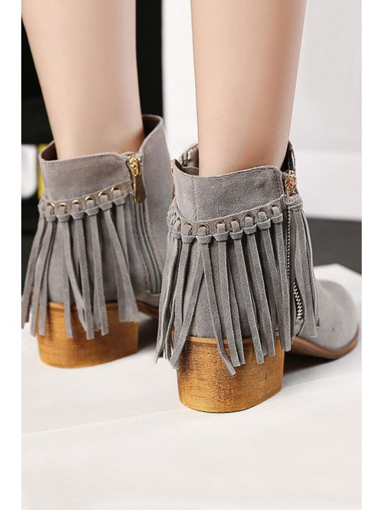 Tassel Solid Color Suede Ankle Boots - GRAY 37 Mobile