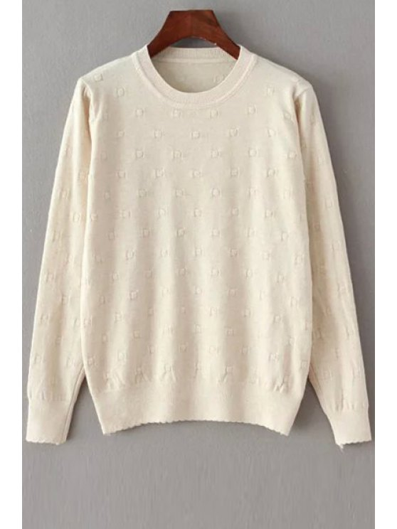 hot Crochet Flower Long Sleeves Pure Color Pullover Sweater - OFF-WHITE ONE SIZE(FIT SIZE XS TO M)