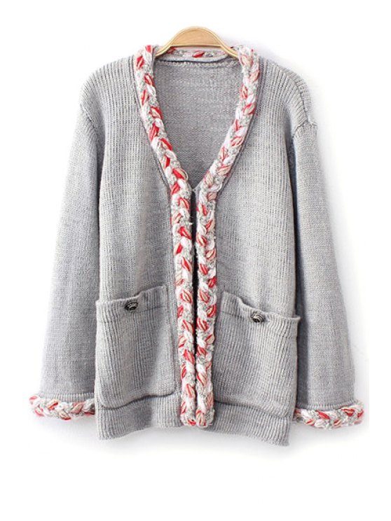 outfits Big Pockets Single-Breasted Cardigan - GRAY ONE SIZE(FIT SIZE XS TO M)