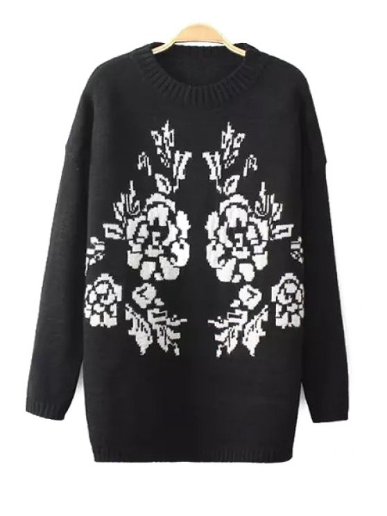 shop Round Neck Long Sleeve Jacquard Sweater - BLACK ONE SIZE(FIT SIZE XS TO M)
