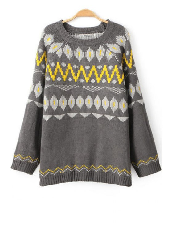 shops Long Sleeve Jacquard Knitwear - GRAY ONE SIZE(FIT SIZE XS TO M)