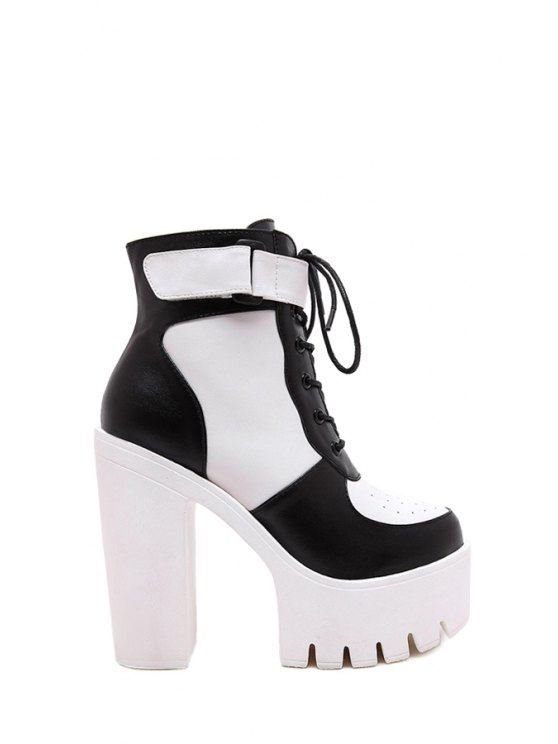 womens Color Matching Lace-Up High Heel Boots - WHITE AND BLACK 35