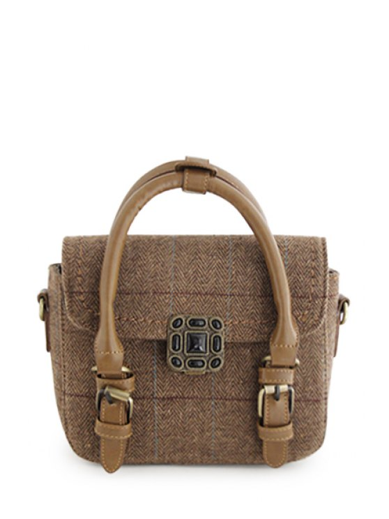trendy Linen Buckle Stitching Tote Bag - BROWN