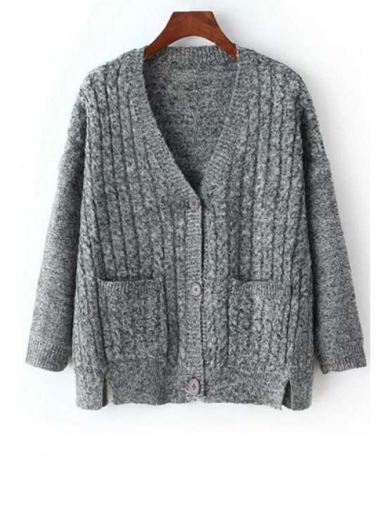 best Twist Braided V-Neck Long Batwing Sleeves Cardigan - GRAY ONE SIZE(FIT SIZE XS TO M)