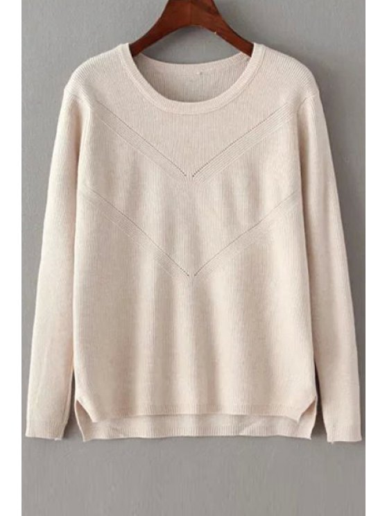 fashion Solid Color Crochet Flower Long Sleeves Pullover Sweater - OFF-WHITE ONE SIZE(FIT SIZE XS TO M)