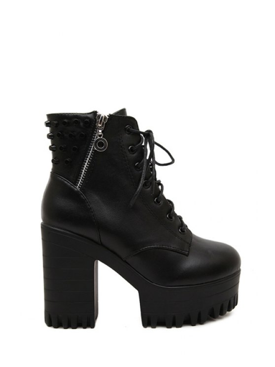 sale Black Metal Lace-Up High Heel Boots - BLACK 39