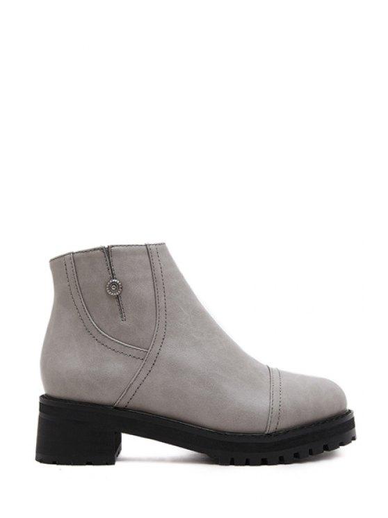 affordable Solid Color Platform Zipper Ankle Boots - GRAY 35