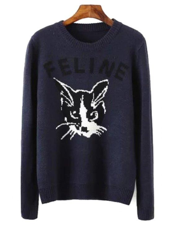 latest Long Sleeve Feline Jacquard Sweater - PURPLISH S
