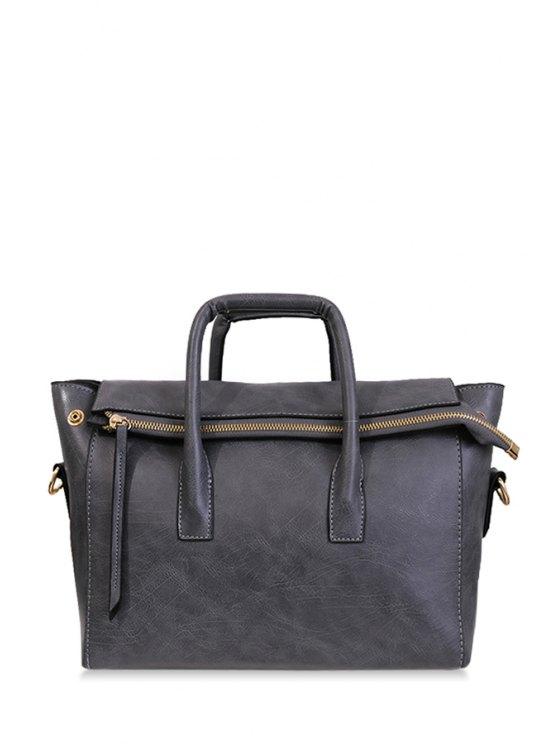 shops Zipper Stitching Solid Color Toet Bag - GRAY
