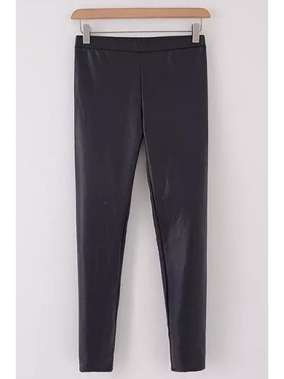 lady PU Leather Solid Color Slimming Narrow Feet Pants - BLACK L
