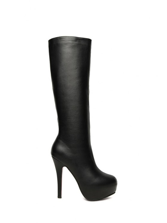 affordable Black Platform Stiletto Knee-High Boots - BLACK 35
