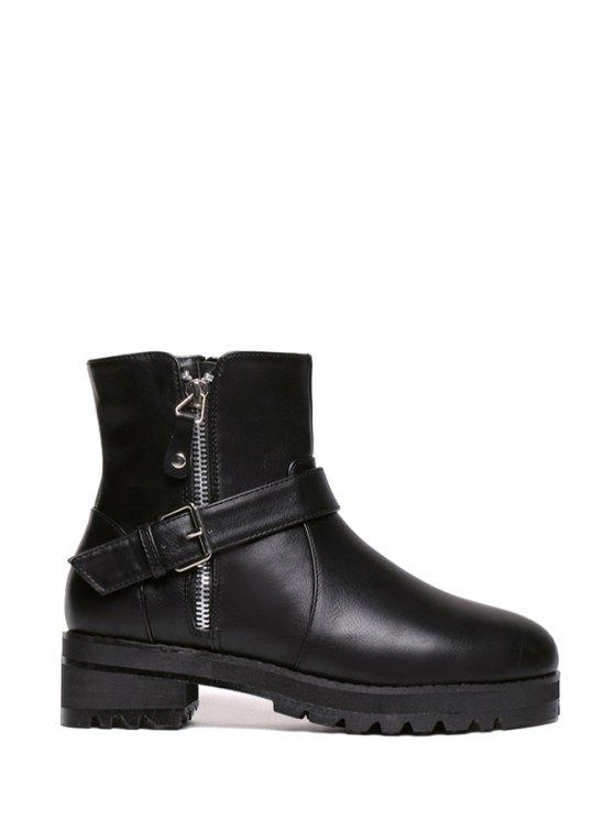 outfit Black Buckle Zipper Short Boots - BLACK 35