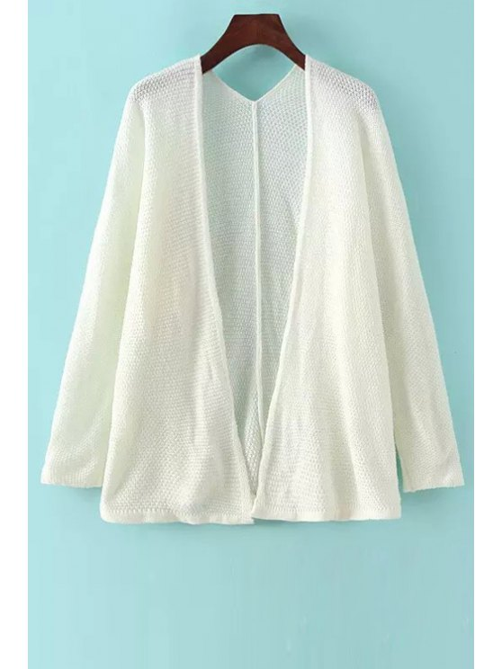 hot Pure Color Collarless Long Sleeves Cardigan - WHITE ONE SIZE(FIT SIZE XS TO M)