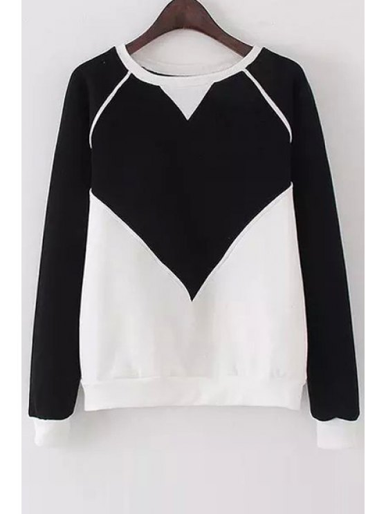 women Color Block Round Collor Long Sleeves Sweatshirt - BLACK ONE SIZE(FIT SIZE XS TO M)