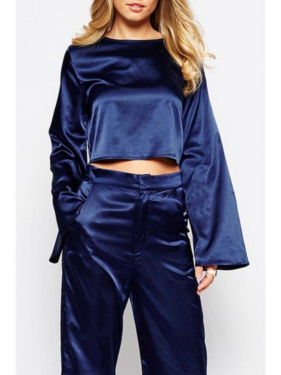 sale Crop Round Collar Long Sleeves Blue Brief T-Shirt - BLUE XS