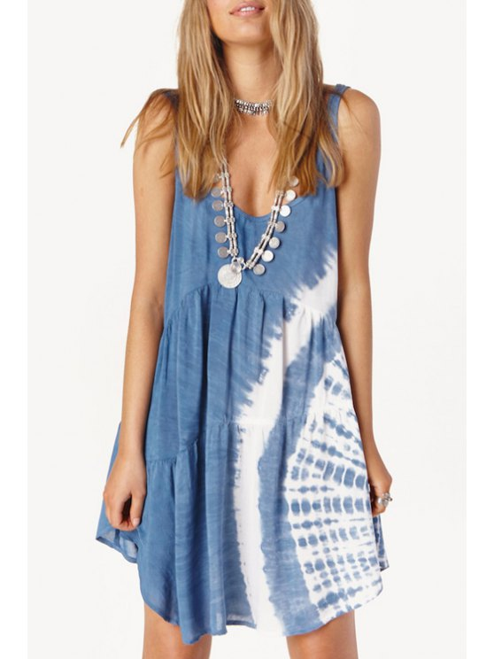 outfits Tie Dye Print Sleeveless Sundress - BLUE AND WHITE S