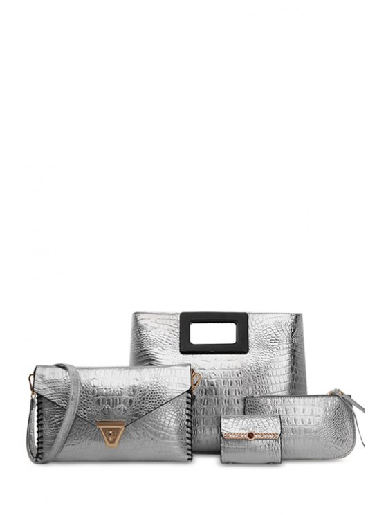 shop PU Leather Embossing Solid Color Tote Bag - SILVER