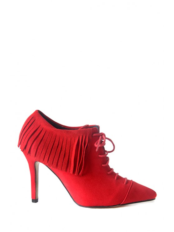 latest Stiletto Suede Fringe Short Boots - RED 35