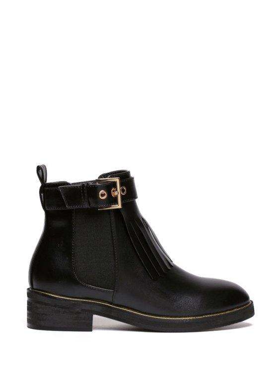 shops Fringe Buckle Elastic Short Boots - BLACK 35