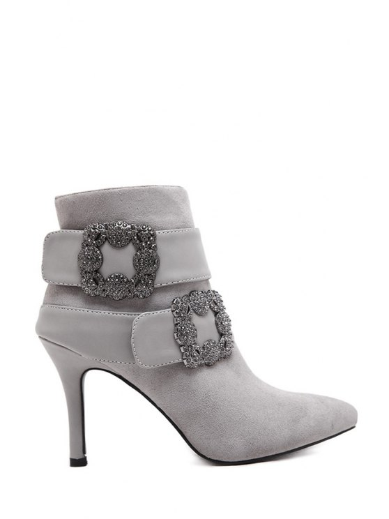 outfits Stiletto Zipper Rhinestones Short Boots - GRAY 39