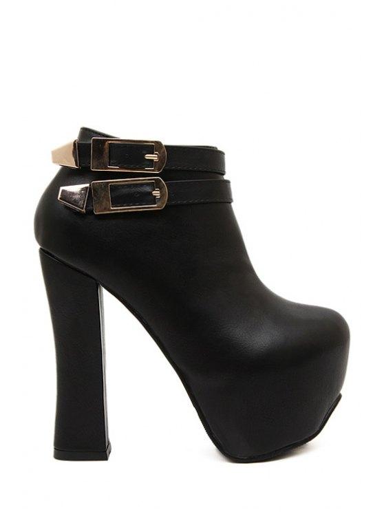 fancy Buckle Chunky Heel Platform Ankle Boots - BLACK 35